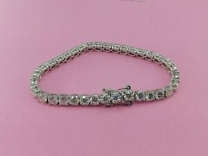 4mm Round Cut Brilliant Moissanite Bracelet 14K Solid White Gold Bracelet 7.5""