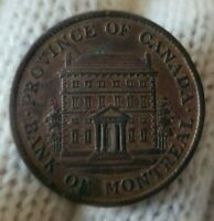1842 BANK OF MONTREAL CANADA HALF PENNY TOKEN EF