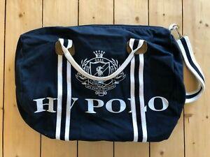 Canvas HV Polo Sporttasche, Weekender etc. - Navy Blau/Weiß - 45x44 cm