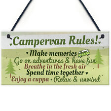 Novelty Campervan Camper VW Rules Travel Holiday Gift Hanging Door Wall Plaque