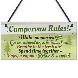 Novelty Campervan Camper VW Rules Travel Holiday Gift Hanging Door Wall Plaque