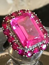 Estate vintage Alwand Vahan pink tourmaline & diamond ring 925 sterling silver