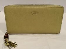 Gucci Womens Yellow Leather Zip around Wallet with bamboo tassel Authentic