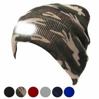 Winter Unisex LED Beanie Hat With Battery Head Light Warm Hats