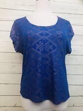 Daytrip Medium Juniors Top Blue Design Blouse Short Sleeves