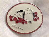 Vintage Snoopy Metal Belt Buckle Hearts Schulz Peanuts