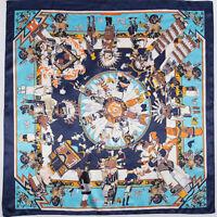 "Women's Euro Vintage Indians Printed Soft Satin Square Scarf Shawl Hijab 35""*35"""