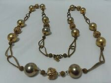 "Chains and Beads Signed 19 1/2"" Vintage Hattie Carnegie Goldtone Necklace Looped"