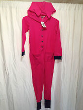 BNWT Girls Size 4 Hot Pink Waffle Style Fabric Hooded Onesie Sleep Suit