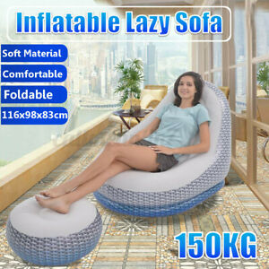 Foldable Lazy Sofa Inflatable Recliner Outdoor Sofa Bed Flocking Lazy Couch Pads