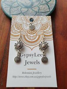 Sunflower Mandala Earrings GypsyLeeJewels Bohemian Silver925 Hooks