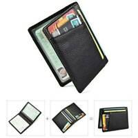 Mens Black Business Slim Soft Wallet Genuine Leather Mini Credit ID Card Holders