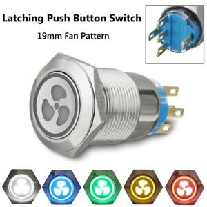 2Pcs19mm LED Stainless Steel Metal Fan Push Button Switch Panel On-off Car Lorry