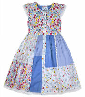 Girls Summer Dress Kids Floral Print Dresses Blue Age 3 4 5 6 7 8 9 10 11 Years