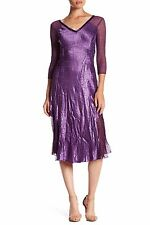 NWT KOMAROV V-Neck Long Sleeve Circle Hem Midi Dress NOBEL ITALIAN Purple Sz XL