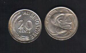SINGAPORE 20 CENTS KM4 1967-1985 SWORD FISH WILD ANIMAL MONEY LOT OF X 100 COINS