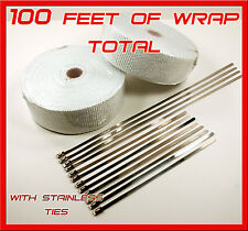 WHITE EXHAUST WRAP HEADER PIPE TAPE 2 ROLLS 2 X 50 FEET & STAINLESS TIES KIT