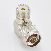 N Male Plug to UHF SO-239 female jack right angle 90 Deg connector adapter