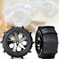 2 Traxxas Rustler Sand Paddle Tires & Wheels Assembled and ready to use TRA3776