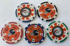 Denver Broncos Poker Chips NFL Football Golf Marker Fathers Day Set Of 5 Gift