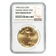 1998 1 oz $50 Gold American Eagle NGC MS 69 Mint Error (Obv Struck Thru)