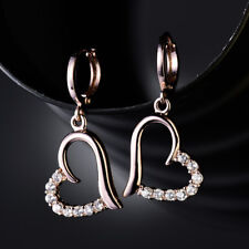 HUCHE Lovely Hollow Heart Rose Gold Filled Diamond Clear Crystal Lady Earrings