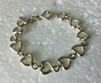 """VTG heavy Solid Sterling Silver HEART Chain 7.25 in. """" BRACELET 925 Toggle 25g"""