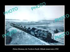 OLD LARGE HISTORIC PHOTO OF POLSON MONTANA, NORTHERN PACIFIC MIKADO TRAIN c1950