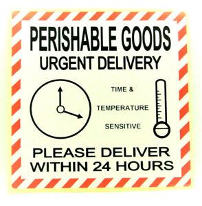 PERISHABLE GOODS URGENT 24 HOUR DEL Labels  Stickers LARGE 100x100mm PPI-PER-GO