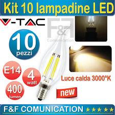 KIT 10PZ LAMPADINA LED FILAMENTO VETRO COLPO DI VENTO V TAC LUCE CALDA  E14