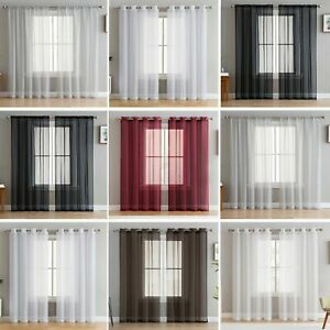 2 SLOT TOP, EYELET or TAB TOP Voile Net Panels, Curtains Pair With TIE BACKS !