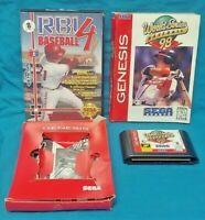 World Series 98 + RBI Baseball 4 - Sega Genesis Working Tested - 2 Game Lot