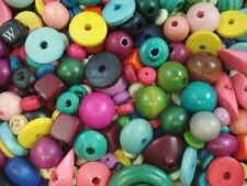 Wooden Beads 50g Mix Colours Wood Craft Spacer Mixed Timber FREE POSTAGE
