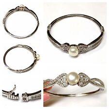 BRAZALETE DE PLATA 925 Pulsera plata con Perlas y blanca Piedras Joyería Plata