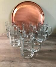 Pasabahce Glassware Barware-6 Clear Glass Panel Style Heavy Beer Mugs-Turkey