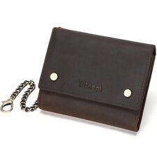 Mens Vintage Leather Biker Wallet Trifold Credit Card Holder Trucker Chain Purse