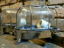 Industrie Design Lampe Lamp Cage Vintage Bunkerlampe poliert Loft Fabrik