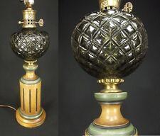 MID CENTURY modern TABLE LAMP EAMES ERA teak ceramic glass 1960's column orb