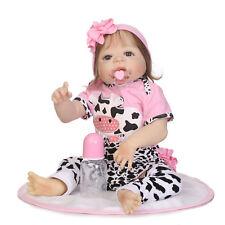 "23"" Reborn Baby Doll Anatomically Correct Girl Newborn Toddler Smooth Fiber Hair"