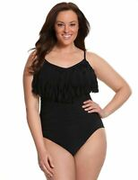 Magicsuit by Miraclesuit Women' Black Fringe Blaire One Piece Swimsuit Underwire