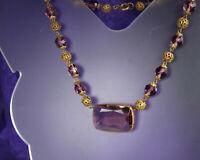 "ART DECO Era Necklace 1930s AMETHYST Glass Paste 15.5"" Choker Length FABulous!"