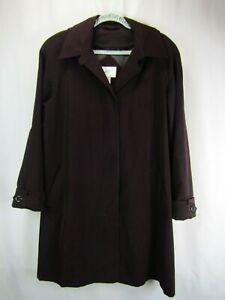 Jacqueline Ferrar XL Burgundy Full Length Trench Rain Coat - Removable Hood