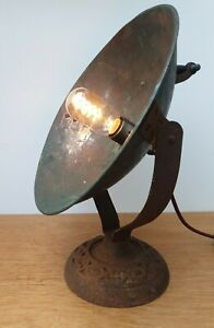 Vintage Antique Converted Copper Heat Lamp Industrial Table Light