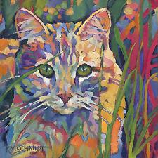 KMSchmidt 12x12 Ltd Ed ART PRINT fauve impressionist wild ORANGE TIGER TABBY CAT