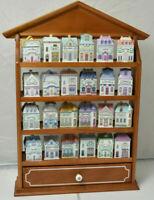 LENOX Victorian House Spice Village w/ 24 Sice Jars & Wood Rack Display Complete