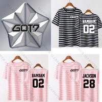 KPOP GOT7 FLIGHT Stripe T-shirt Hard Carry Tshirt Unisex Mark Tee Jackson Cotton