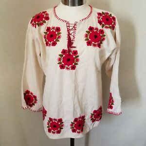 Bohemian Embroidered Floral Peasant Handmade Authentic Mexican Shirt