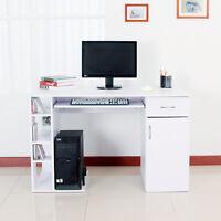 Computer Desk PC Writing Table Storage Shelves Drawer White