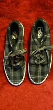 Vans Off the Wall Canvas Skate Shoes Black White Plaid Size 12