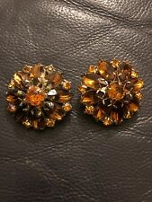 Brown/amber Glass Clip On Earrings Vintage Gold Tone Art Deco Faceted